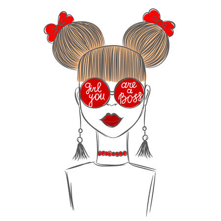 girl glasses: Hand drawn sketch of the cute fashion girl in red glasses with quote Girl you are a boss. Fashion vector illustration.