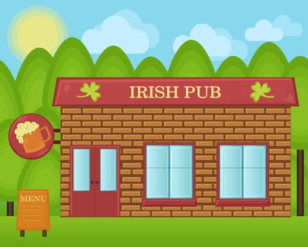 irish pub: Vector cartoon illustration. Irish beer pub building concept. Irland tavern house landscape.