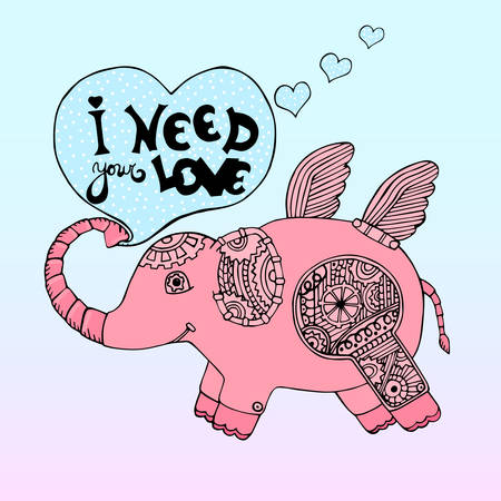 pink elephant: Hand drawn cute pink elephant robot with quote in heart I need your love. Vector illustration.