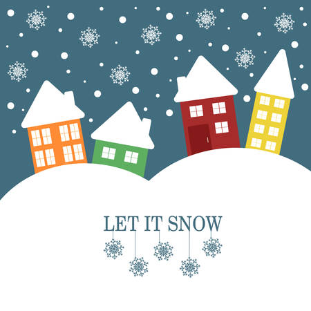 let it snow: Christmas Illustration with quote Let it snow. Winter landscape with snowy cartoon houses. Vector graphic design. Illustration
