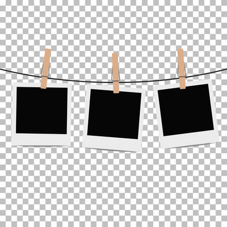 Photo frame hung on rope with clothespin on transparent background. Vector illustration.