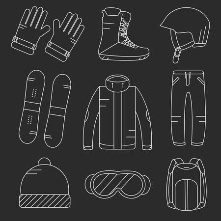 Vector lineaire snowboard apparatuur iconen set. Wintersportactiviteiten pictogrammen. Vector Illustratie