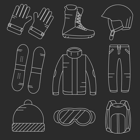 Vector Linear Snowboard-Ausrüstung Symbole gesetzt. Wintersportaktivitäten Symbole. Vektorgrafik