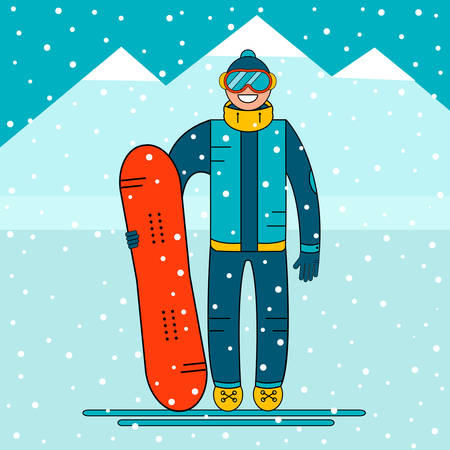 snow mountain: Happy boy snowboarder standing with a snowboard. Snow mountain landscape. Extreme winter sports. Vector illustration.