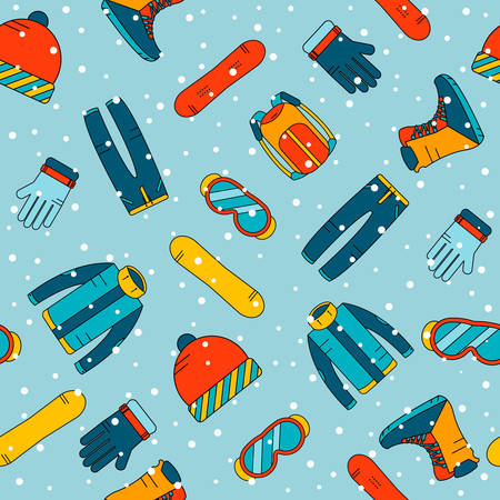 Naadloos patroon met accessoires voor snowboarden. Extreme wintersporten iconen. Vector besneeuwde achtergrond.