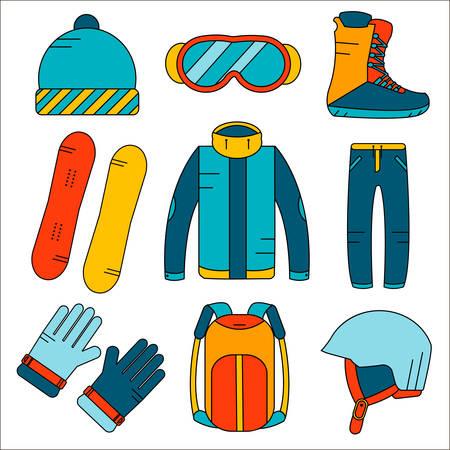 Vector Linear Snowboardausrüstung farbige Symbole gesetzt. Wintersportaktivitäten Symbole in flachen Stil. Handschuhe, Stiefel, Helm, Snowboard, Ski-Anzug, Hut, Sonnenbrille, Rucksack.