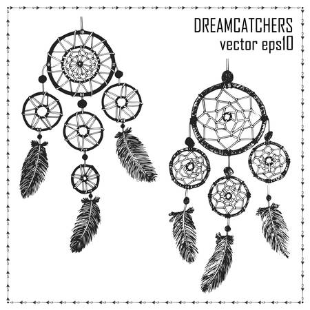 dreamcatcher: Hand-drawn with ink two dreamcatchers with feathers. Ethnic illustration, tribal, American Indians traditional symbol.