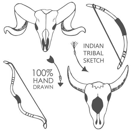 indian ink: Hand drawn with ink sketch illustration with bow, bull skulls, arrows. Tribal, native american indian illustration. Vector background. Illustration