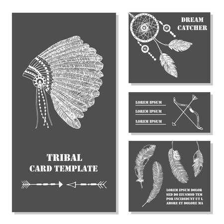 swelled: Set of tribal, ethnic, indian business card with feathers, bow, headdress. Vector background tepmlate. Card or invitation. Vintage decorative hand drawn elements.