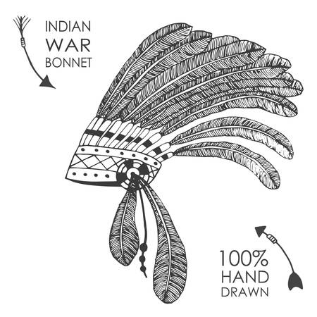 indian chief: Hand-drawn native American indian chief headdress with feathers. Sketch style. Tribal vector illustration.