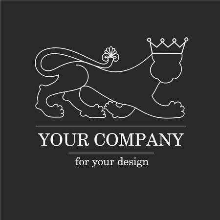 royal safari: Silhouette animal lion, predator with crown - logo emblem template for business. Vector logotype template. Illustration