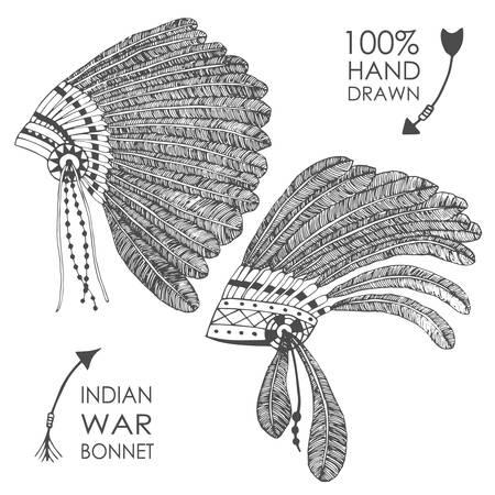 indian chief headdress: Hand-drawn native American indian chief headdress with feathers. Sketch style. Tribal vector illustration.