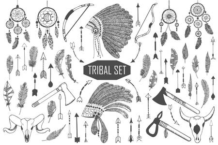 dreamcatcher: Hand drawn tribal set with bows, axes, arrows, feathers, dreamcatchers, bull skulls, war headdress elements. Vector ethnic, indian, aztec, hipster illustration.