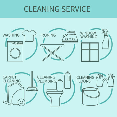 carpet cleaning service: Line icon of cleaning service, logo for web banners, web sites, infographics. Vector template for professional cleaning company. Illustration
