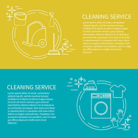 cleaning services: Two flyers, card with clening service icon. Vector template with sample text. Illustration