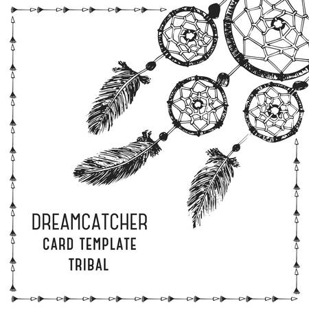 Hand-drawn with ink dreamcatcher with feathers. Ethnic illustration, tribal, American Indians traditional symbol. Card template.