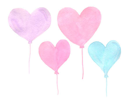 Hand painted real watercolor pink and blue heart balloons on a white background. Perfect for postcards, birthday, baby shower, wedding.