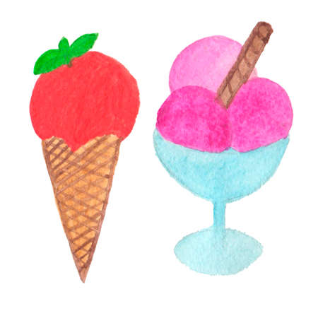 sugary: Hand painted real watercolor ice cream cone illustration. Perfect for design, postcards, covers.