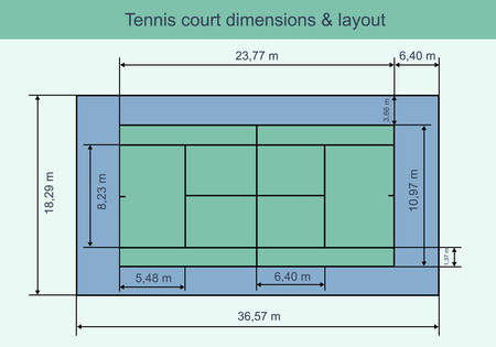 synthetic court: Big tennis court with dimensions and layout. Vector illustration.