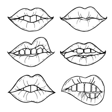 lust: Open female mouth with black lips. Womens lips isolated on a white background. illustration of sexy lips. Mouth kiss. Illustration