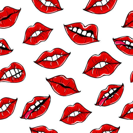 Seamless pattern with female mouth with red lips. Womens lips on a white background. illustration of sexy lips. Mouth kiss. Illustration
