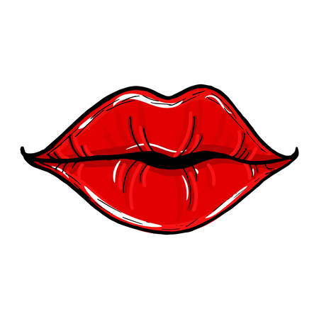 Female mouth with red lips. Womens lips isolated on a white background. illustration of sexy lips. Mouth kiss. Vectores