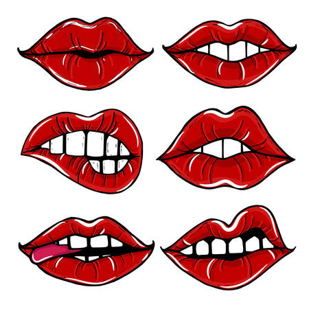 sexy hot couple: Open female mouth with red lips. Womens lips isolated on a white background. Illustration
