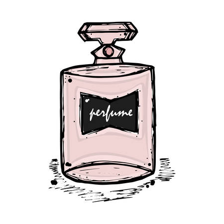 perfumery: A bottle of perfume for girls, women. Fashion and beauty, trend, aroma. sketch illustration. Isolated object. Illustration