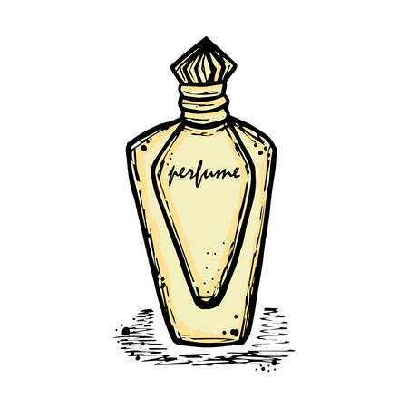 aroma: A bottle of perfume for girls, women. Fashion and beauty, trend, aroma. sketch illustration. Isolated object. Illustration