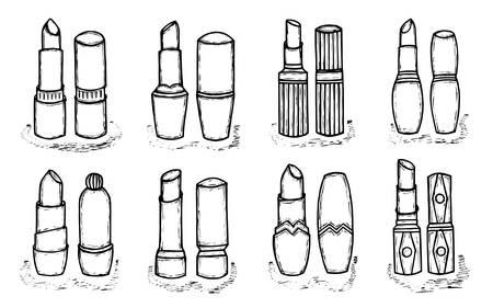 pallette: Noir et femmes blanches rouge à lèvres. Mode et tendance de beauté. illustration Sketch. Produits cosmétiques pour les lèvres soins. objets isolés.