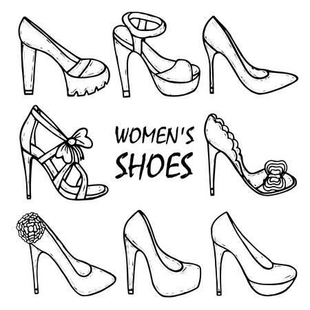 high heel shoes: womens high heel shoes, sandals. Fashionable womens shoes. Beauty, trend. Sketch illustration. isolated objects.