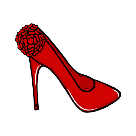 high heel shoes: womens high heel shoes. Fashionable womens shoes. Beauty, trend. Sketch illustration. isolated objects.