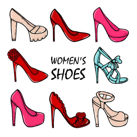 high heel shoes: Beautiful hand drawn womens high heel shoes. Fashionable womens shoes. Beauty, trend. Sketch illustration.