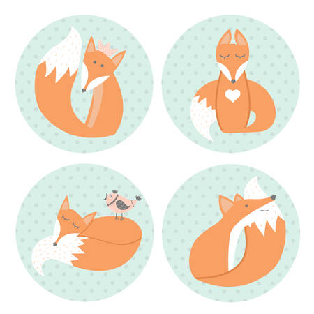 clever: Cute foxes sitting in different positions in cartoon style. Animal symbol. Perfect for design, cards, invitations, birthdays and weddings