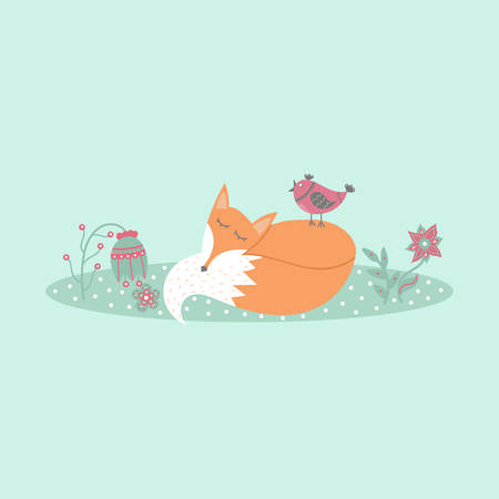 lies: Cute fox lies on lawn in forest with bird and flowers in cartoon style. Animal symbol. Perfect for design, cards, invitations, birthdays and weddings