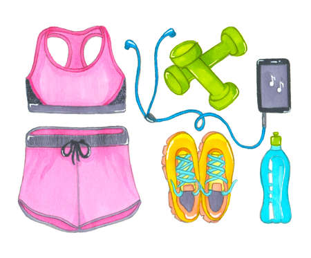 Drawn with markers sports collection womens top and shorts, sneakers and dumbbells, mobile phone with headphones and bottle of water isolated on a white background. Sports and fitness illustration
