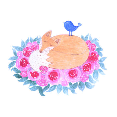 sits: Watercolor cute little fox sleeping in forest surrounded by flowers and leaves. On fox sits a blue bird. Card mammal design perfect for holiday and birthday. Isolated illustration Stock Photo