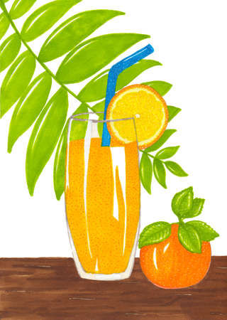Drawn with markers a glass of juice with orange slice and straw on wooden background. Fruit and food illustration Stock Photo
