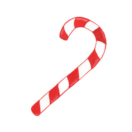 Watercolor candy cane isolated on white background. Perfect for wedding, holidays, invitation, birthday Stock Photo