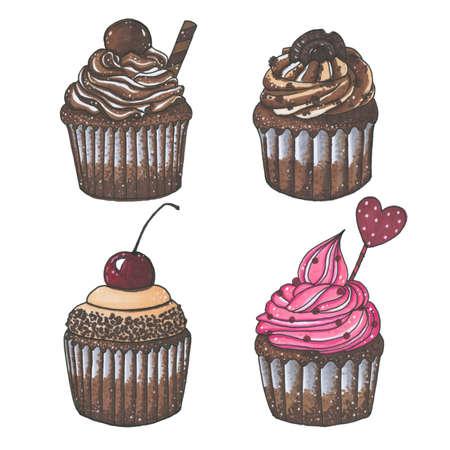 cupcakes isolated: Drawn with markers set of four chocolate cupcakes isolated on white background. Perfect for wedding, holidays, invitation, birthday