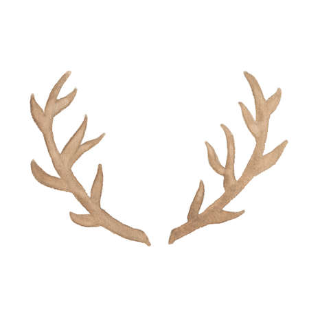 Watercolor deer antler isolated on white background. Perfect for wedding, holidays, invitation, birthday Stock Photo