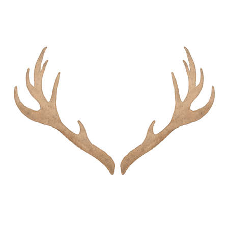 horny: Watercolor deer antler isolated on white background. Perfect for wedding, holidays, invitation, birthday Stock Photo