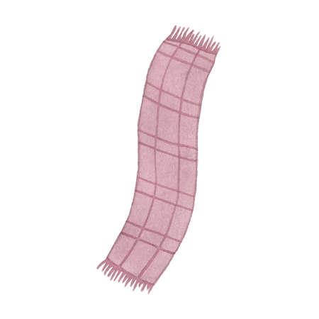 tejido de lana: bufanda de la acuarela aislado en el fondo blanco. Perfecto para la boda, días de fiesta, invitación, cumpleaños