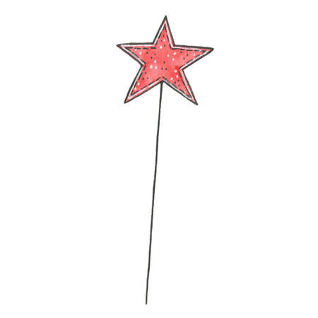 Hand drawn watercolor magic wand with star isolated on white background. Perfect for wedding, holidays, invitation, birthday Stock Photo