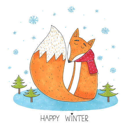 Cute marker fox in scarf in winter sitting on meadow surrounded by fir trees and it is snowy illustration. Happy winter card. Perfect for holidays, invitation, birthday Stock Photo