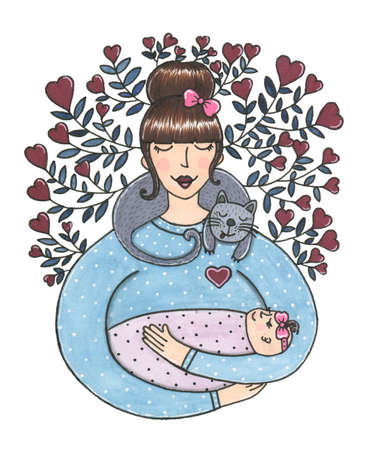 Watercolor cute mother with baby in her arms and cat on neck around flowers of hearts. Card illustration perfect for holidays, invitation, birthday