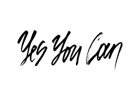 can yes you can: Yes you can ink modern brush calligraphy isolated on white background. Postcard vector illustration Illustration