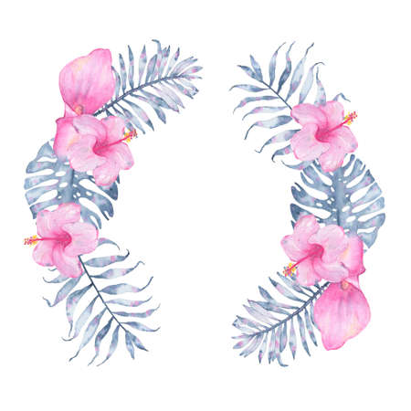 palm wreath: Watercolor tropical indigo floral wreath with pink calla hibiscus and leaves of indigo palm monstera. Botanical illustration isolated on white background