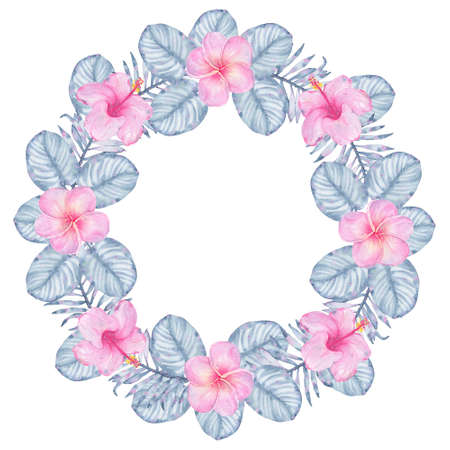 palm wreath: Watercolor tropical indigo floral wreath with pink hibiscus frangipani and leaves of indigo palm monstera. Botanical illustration isolated on white background Stock Photo