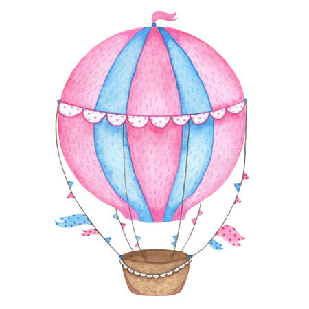 Watercolor hand painted hot air balloon isolated on white background. Vintage kids cartoon airballoon flying in sky illustration